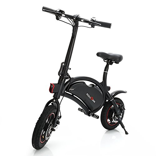 ROLLGAN Dolphin Electric Bike 12 inch Folding Body E-Bike Scooter with 12 Mile Range,Collapsible Frame,APP Speed Setting,36V 250W Rear Engine Electric Bicycle,Mechanical Disc Brakes,Black