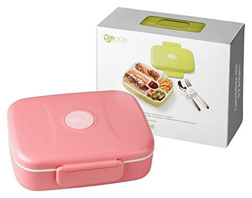 3RBOX, Lunchbox | Bento Box | Brotdose mit Edelstahlbesteck (Pink)