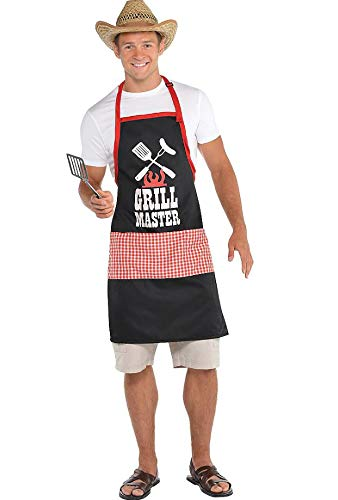 Amscan 397173 Picnic Party BBQ Grill Master Apron, Red/Black