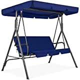Best Choice Products 2-Person Outdoor Large Convertible Canopy Hanging Swing Glider Lounge Chair w/Adjustable Shade, Removable Cushions - Blue