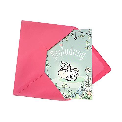 JEKA 6 Einhorn Einladung zum Kindergeburtstag mit 6 rosa Umschlägen, Einladung Mädchen Einhorn, Kindergeburtstag Mädchen, Einladung Einhorn, Geburtstagsparty, Einladungskarten zum Geburtstag Mädchen