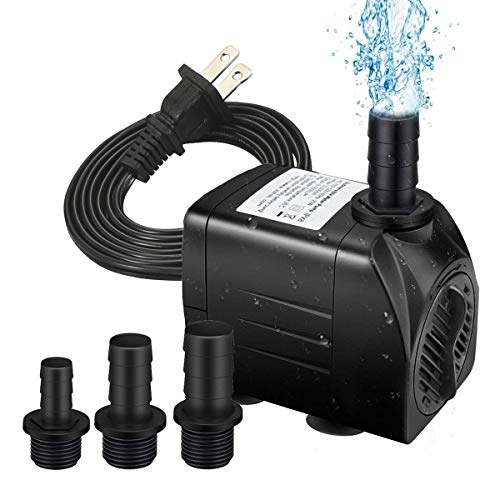 HEMCER Ultra Quiet Fountain Pump, 400GPH Submersible Water Pump, Durable 25W Outdoor Fountain Water Pump with 6ft Power Cord, 3 Nozzles for Aquarium, Pond, Fish Tank, Water Pump Hydroponics, Backyard