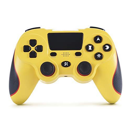 Controller für PS4 Controller Kabelloser, Double Shock High Performance Gaming Controller für Playstation 4/Pro/Slim/PC und Laptop mit Audio Funktion, Mini-LED Anzeige( Yellow)