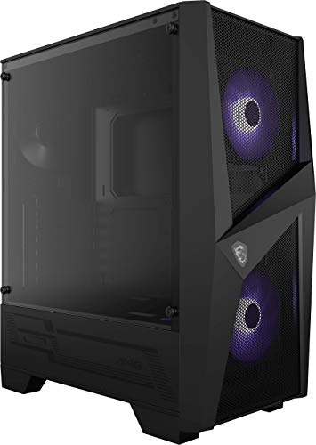 MSI MAG FORGE 100M Mid-Tower - Caja de PC Gaming, 2 x 120 mm RGB + 1 x 120 mm Ventiladores Incluidos, Panel Cristal Templado, ATX, mATX, Mini-ITX, Negro