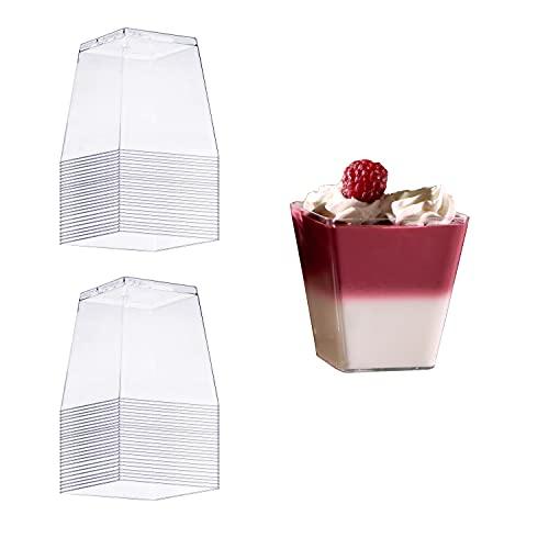 8around-50 Vasos para postres cuadrados 200ml plástico transparente desechable reutilizables,vasitos aperitivos útiles para mouse de chololate,souffle, postres, frutas, aperitivos,entrantes,pudin