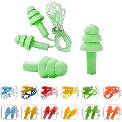 Gehörschutz Ohrstöpsel Set, 12 Paar Wiederverwendbare Silikon Ohrstöpsel, Ohrstöpsel für Schlafen, wasserdicht, weich, Schutz vor Lärm, Komfortable Gehörschutzstöpsel zum Schlafen & für Flugzeuge