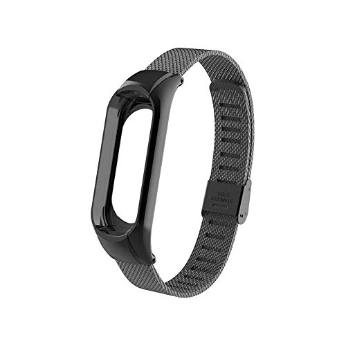 OLLIVAN Xiaomi Mi Band 3 Replacement Strap, Stainless Steel Wristband Bracelet Replacement Band Wrist Strap for Mi Band 3 Tracker, Host Remove Easily via Double Elastic Buckle (Buckle Black)