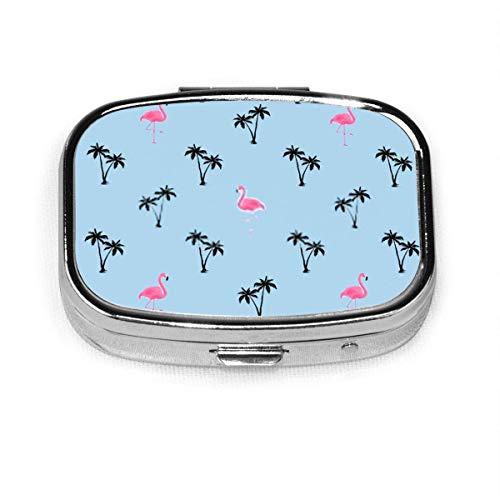 Pastillero cuadrado personalizado con diseño de palmeras de flamenco, color azul vintage
