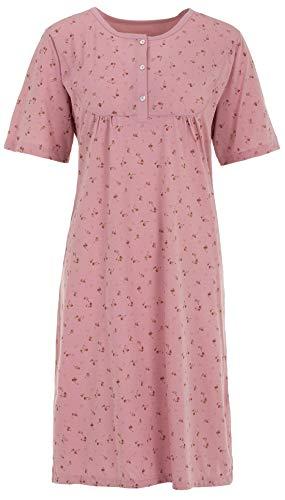 Zeitlos Nachthemd Damen Kurzarm Übergröße Blümchen Schlafshirt Knöpfe Übergröße bis 6XL, Größe:3XL, Farbe:Altrosa