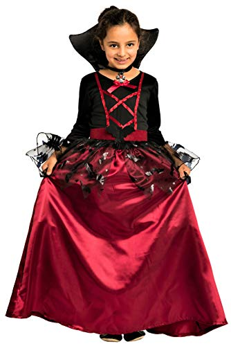 Magicoo bat vampire costume girls kids Halloween red and black - fancy dress costume child girls, 7-8 years (122-128)