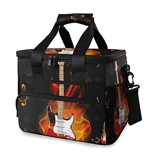 Bardic Kühltasche Musik Note Brennende Gitarre Feuerwerk Picknick Kühltasche Box Isolierte Lunchtasche Box 24 Dosen (15L