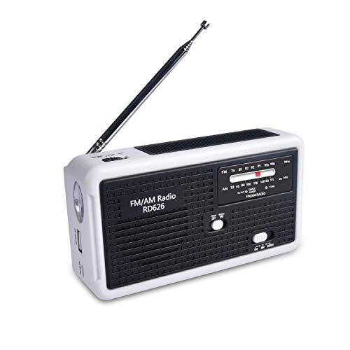 防災ラジオRD626 緊急用ポータブルラジオ FM/AM/対応 1000mAh内大容量蔵バッテリー 手回し充電/太陽光充電/乾電池対応 スマホ充電対応可能 台風地震対策 日本語説明書付き (ブラック)