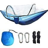 Alomejor Hamaca para Acampar Hamaca de Viaje al Aire Libre Hamaca para Dormir con Mosquitera para Viajes(Azul Real + Azul Claro)