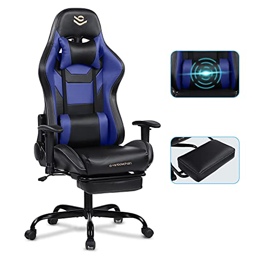 Gaming Chair with Footrest Blue Recliner Chair Rocking Ergonomic Massage Office Computer Chair High Back with Headrest & Lumbar Support Racing Gaming Chair for Adults & Teens Vanbowchairs