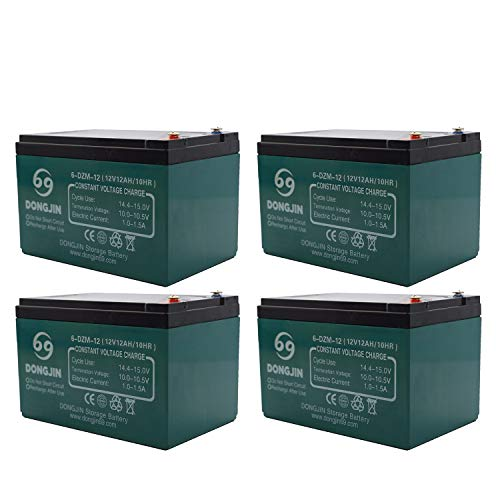 ZXTDR 4 Pack of 6-DZM-12 12V 12AH Rechargeable Battery for Electric Bike Scooter Go Kart