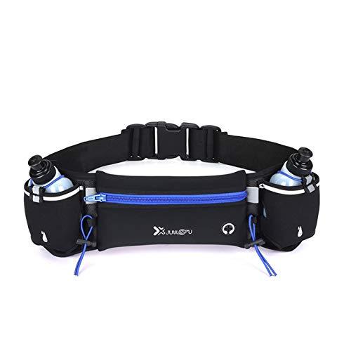 Marathon Dual Pocket Running Belt Trail Running Bolsa de Cintura para Deportes de teléfono Fanny Pack Hombre/Mujer Fitness Paquete de Cintura Botella de Agua (Color : Blue with 2 Bottle)