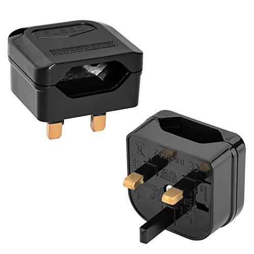 Incutex 2X Reisestecker UK GB England Travel Adapter Typ C Eurostecker 2-Pin auf UK 3-Pin Reise Steckdosenadapter, schwarz