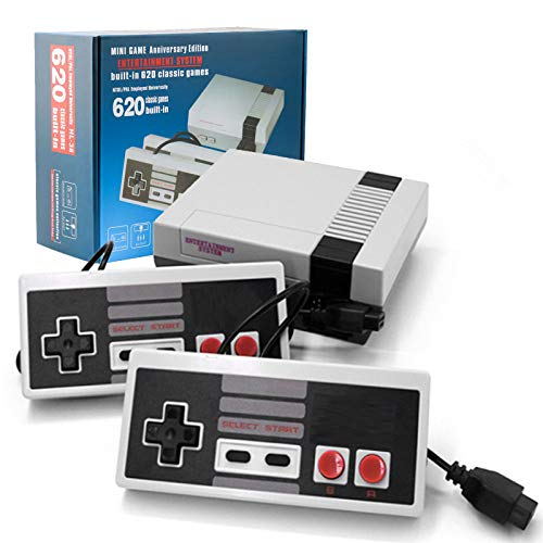 Classic Mini NES Retro Console, AV Output Game Console Built-in 620 Games with 2 Classic Controllers (Gray and Gray)