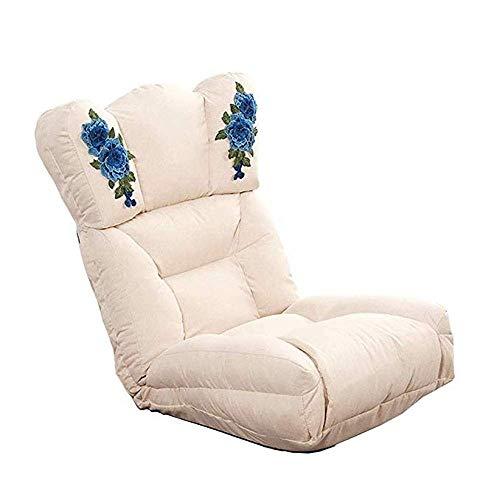 CMmim Luie Sofa Vrije tijd Sofa Bed Vouwen Verstelbare Vloer Luie Kussens Futon Matrasstoel Met Kussen Borduren Patroon Grijs