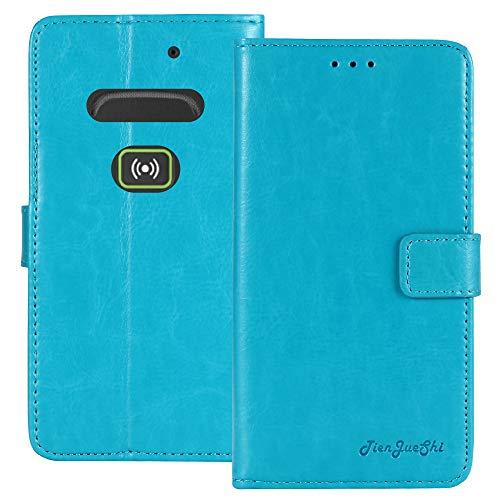 TienJueShi Blau Retro Business Flip Book Stand Brief Leder Tasche Schütz Hülle Handy Hülle Für Doro Secure 580IUP Abdeckung Wallet Cover Etui