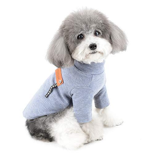 ZUNEA Kleine Hundepullover Wintermantel Warm Gefüttert Welpen Kleidung Weiche Baumwolle Rollkragen Strickware Haustier Katzen Pullover Jacke Bekleidung für Chihuahua Doggie Mädchen Jungen Blau XS
