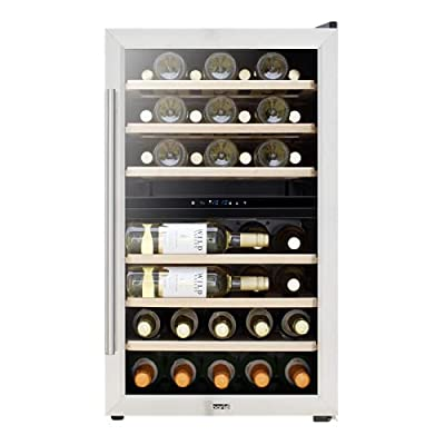 Baridi 43 Bottle Dual Zone Wine Cellar Fridge with Digital Touch Screen Controls, Stainless Steel - DH30 by Dellonda