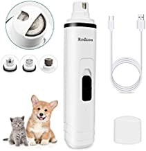 Rodzon Dog Nail Grinder, Professional 2-Speed Electric Rechargeable Pet Nail Trimmer 3 Ports Quiet Painless Paws Grooming Smoothing for Small Medium Large Dogs & Cats & Pets