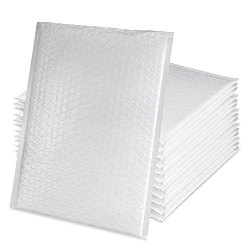 100pcs Poly Bubble Mailers 7.25x12 Inches #1 Bulk Padded Envelopes Shipping Bags Bubble Lined Wrap Self-seal Strip & Waterproof for Anti-broken, White Poly Book Mailers Bag for Shipping Freight Saving