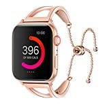 UNIDEEPLY Bling Bands Compatible Apple Watch Band Iwatch Series 4/3/2/1, Women Stainless Steel Metal Dress Jewelry Bracelet Bangle Wristband (Rose Gold, 38MM/40MM)