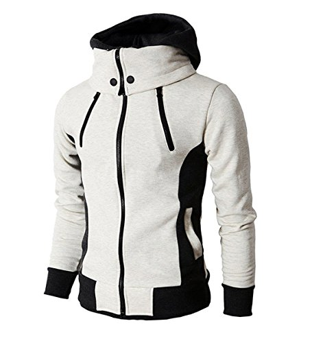LOCALMODE Men's Double Zipper Hooded Jacket Turtleneck Fleece Hoodie Coat Beige M