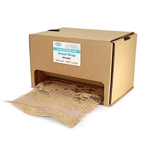 IDL Packaging HexcelWrap - Papel kraft acolchado (38,7 x 1400 pies, en caja...