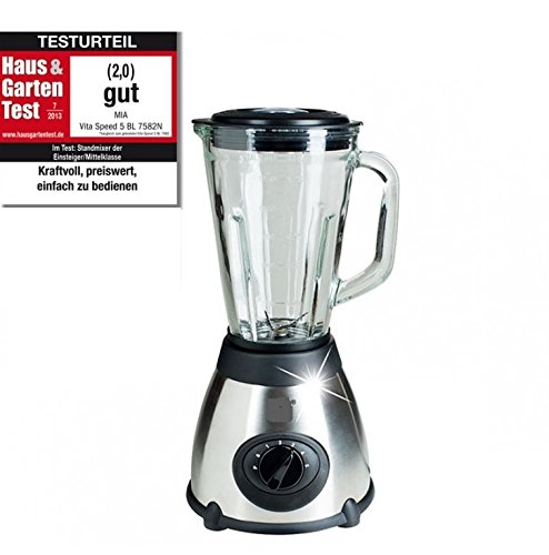 VitaSpeed Edelstahl Standmixer Smoothie Maker mit Glaskrug (500 Watt), 1,5 L Fassungsvermögen, Mixer mit 19.000 U/min max, Edelstahl