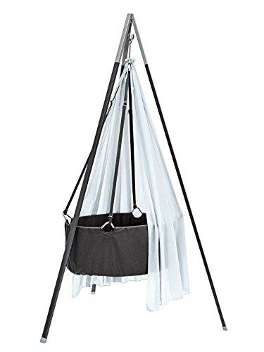 Ausstellungsstück Leander Babywiege Wiege grau Set inkl. Comfort Träumeland Softschaummatratze, Schleier misty blue, Haken und Stativ grau