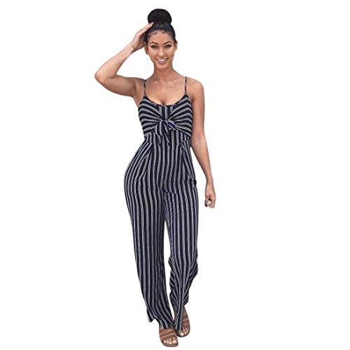 VEMOW Sommer Elegant Damen Frauen Clubwear Riemchen Striped Playsuit Lässig Täglichen Party Strand Verband Body Party Overall(Marine, 42 DE/XL CN)