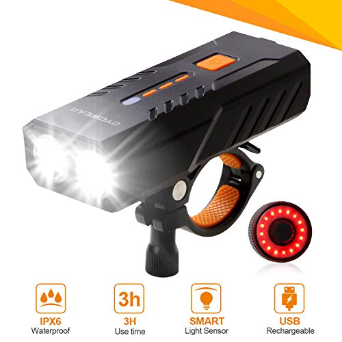 CYCWEAR Bike Light Set, USB Rechargeable Bicycle Headlight & Taillight, IPX6 Waterproof 6 Modes LED Front Cycling Light, Super Bright Flashlight Torch for Road Mountain Cycling