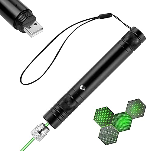 Puntero Verde de Alta Potencia de Largo Alcance, Linterna táctica Recargable USB con Tapa de Estrella, Camping Senderismo para la Noche al Aire Libre 🔥