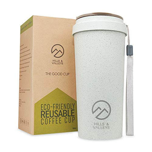Hills & Valleys | Reusable Coffee Cups | Eco Travel Mug with Lanyard – 450ml