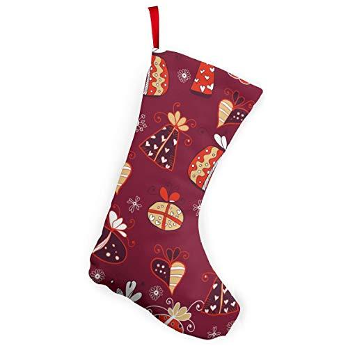 Linranshangmao Rojo Retro Regalo Patrón Vector Navidad Medias Adornos Navidad Santa Kits Para Navidad Decoración