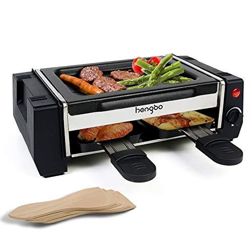 HengBo Mini Raclette, Raclette Grill mit Grillplatte mit Antihaftbeschichtung, Inkl. 2 Pfännchen und 4 Schaber, Einstellbare Temperatur, 500W