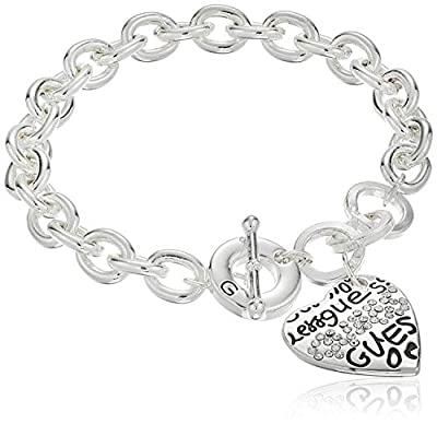 """GUESS """"Basic"""" Silver and Crystal Graffiti Heart Toggle Charm Bracelet"""