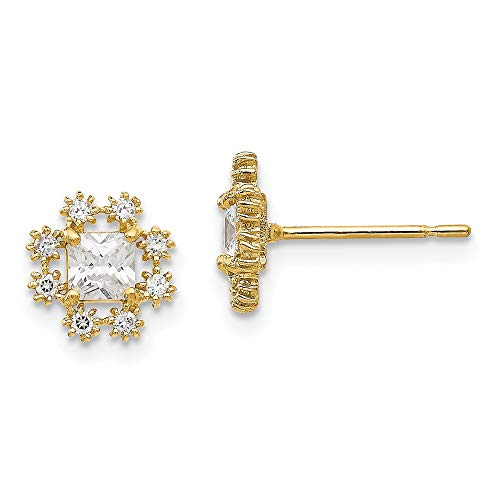 14k Yellow Gold Cubic Zirconia Cz Childrens Flower Post Stud Earrings Gardening Fine Jewelry For Women Gifts For Her