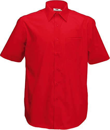 Fruite of the Loom Herren Poplin Kurzarm Business Hemd, vers. Farben XXL,Rot