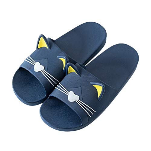 Minetom Unisex Badeschuhe Flip Flop Zehentrenner rutschfest Pantoffeln Sandalen Badezimmer Flache Süße Katze Strand Home Slippers für Herren Damen Dunkelblau 41/42 EU