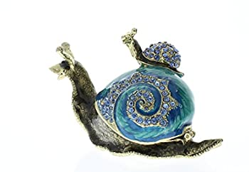 Snail with Baby Snail Trinket Box Aqua Swarovski Crystal Hand Painted Blue Enamel Over Pewter Inside Of Box with Lovely Enamel L 3.50 x H 2.00 x W 1.50