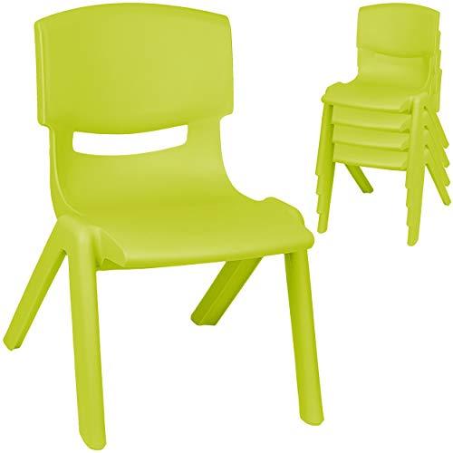 alles-meine.de GmbH 4 Stück - Kinderstühle / Stühle - Farbwahl - grün - apfelgrün - Plastik - bis 100 kg belastbar / kippsicher - für INNEN & AUßEN - 0 - 99 Jahre - stapelbar - G..