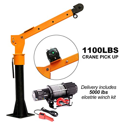 RUGCEL WINGCH 0.5T Folding Truck-Mounted Crane with Wireless Electric Winch 5000 lb 12V, Painted Steel 1100 lb Pickup Truck Jib Cranes 360 Swivel