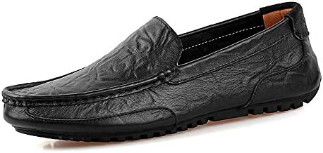 Men's Slip-on Loafers Premium Leather Casual Breathable Driving Shoes Fashion Slipper