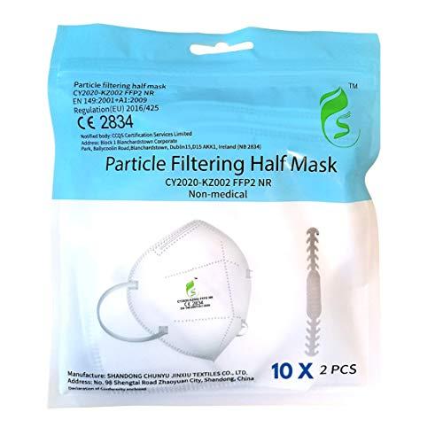 20 Stück FFP2 Maske - EU CE Zertifiziert von Offiziell benannter Stelle CE2834-5-lagige Staubschutzmaske Mundschutzmaske 20 Stück