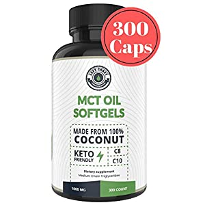 MCT Oil Pills (300 MCT Capsules) derived only from Coconuts. C8 / C10 MCT Oil Softgels, Keto Approved, by Left Coast Performance