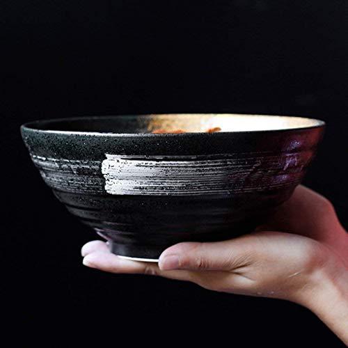 QTQHOME Japanese Style Ceramic Bowl Fruit Salad Big Bowl Ramen Mixing Bowl Creative Retro Tableware Kitchen Accessories New 7 Inches (Color:Black)